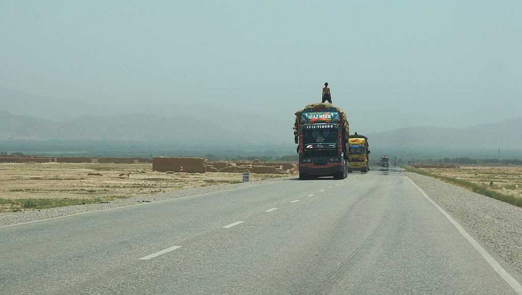 Trucks on a Highway in Northern Afghanistan