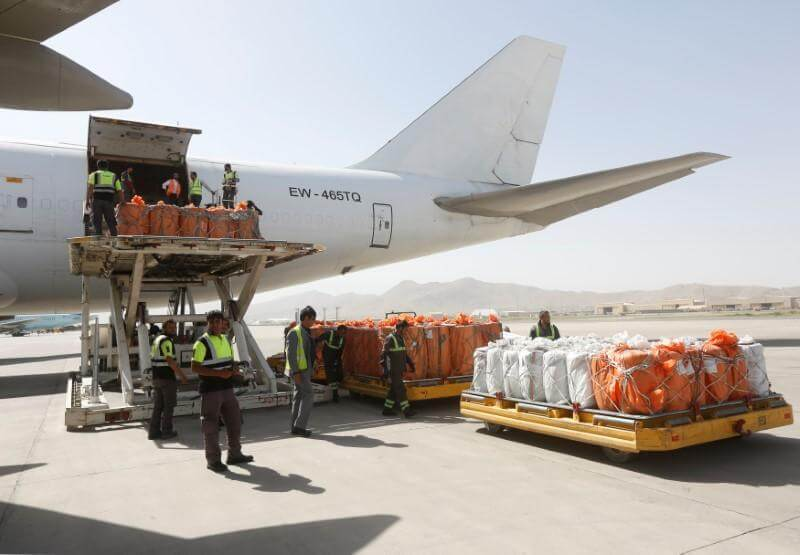 Air Cargo being unloaded on an Airport in Afghanistan