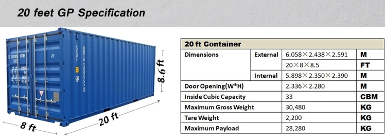 20 feet GP container specifications