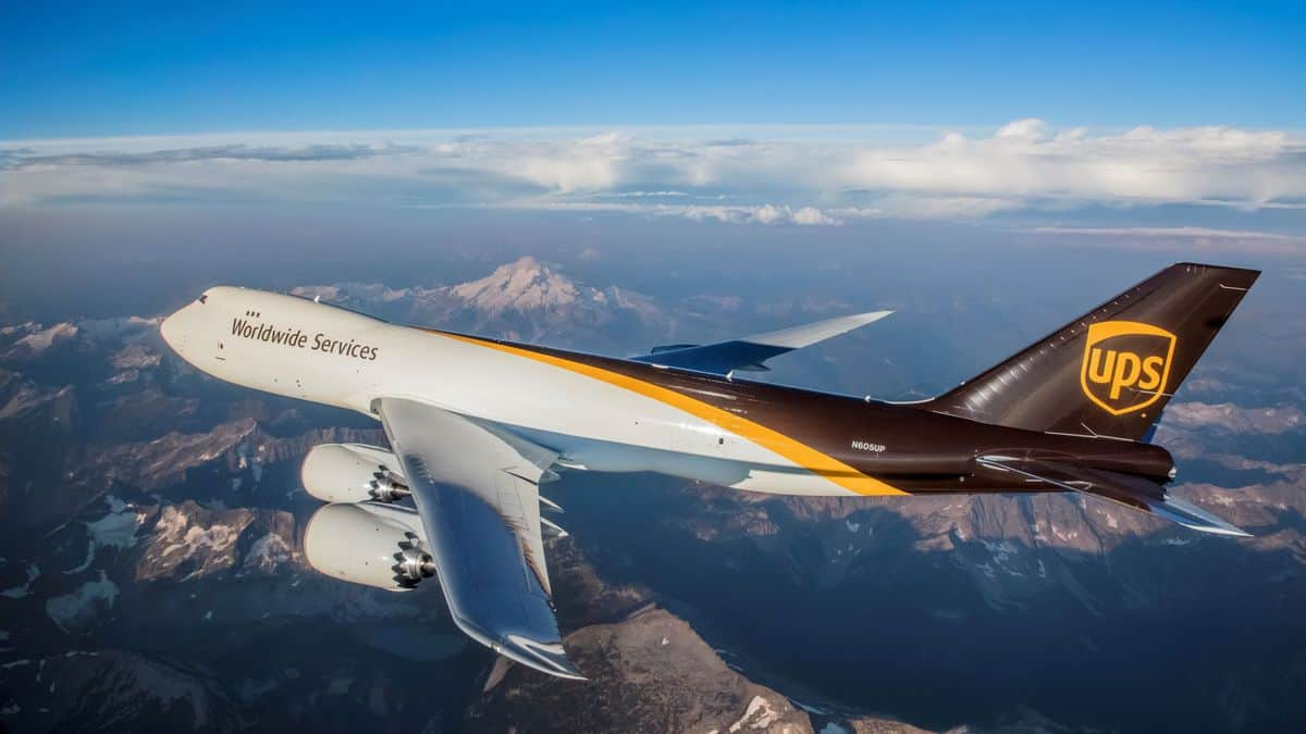 An Image of UPS Boeing Cargo Plane Flying