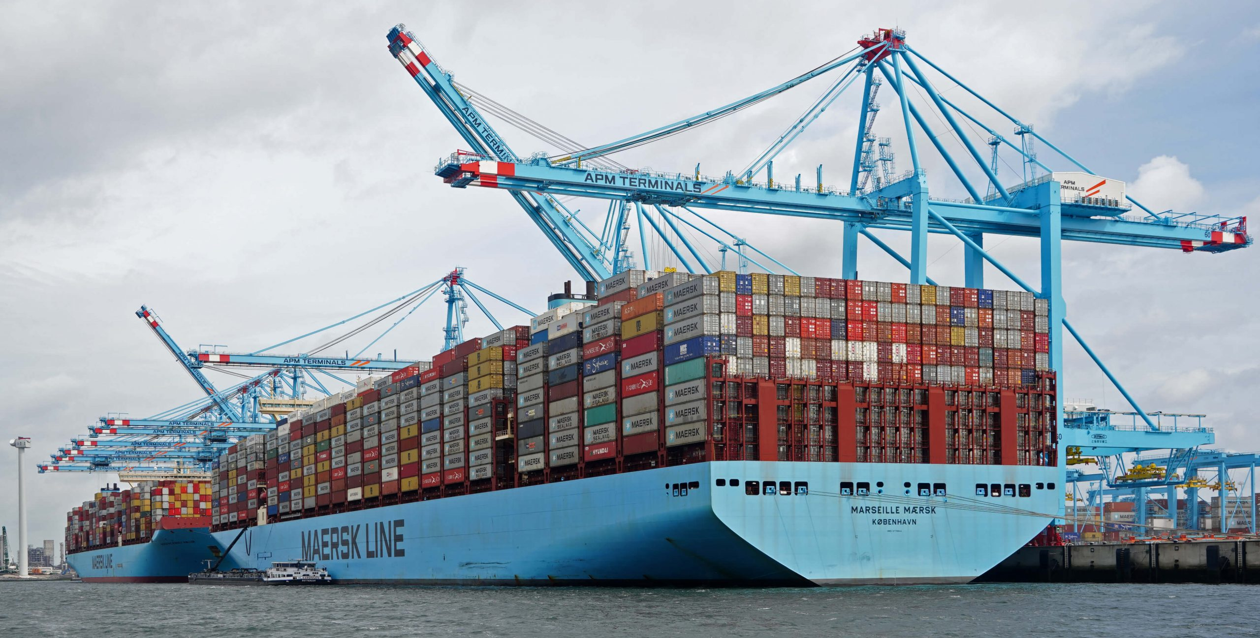 A large cargo ship from the Maersk Line
