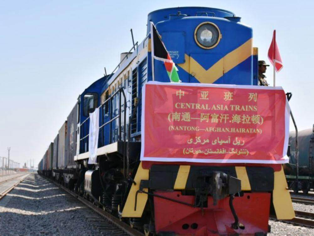 Freight Train from China to Afghanistan_s Hairatan Railway Station