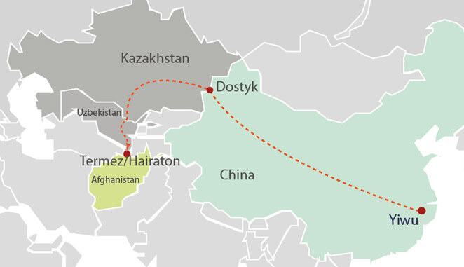 Cargo Train Route from China to Afghanistan