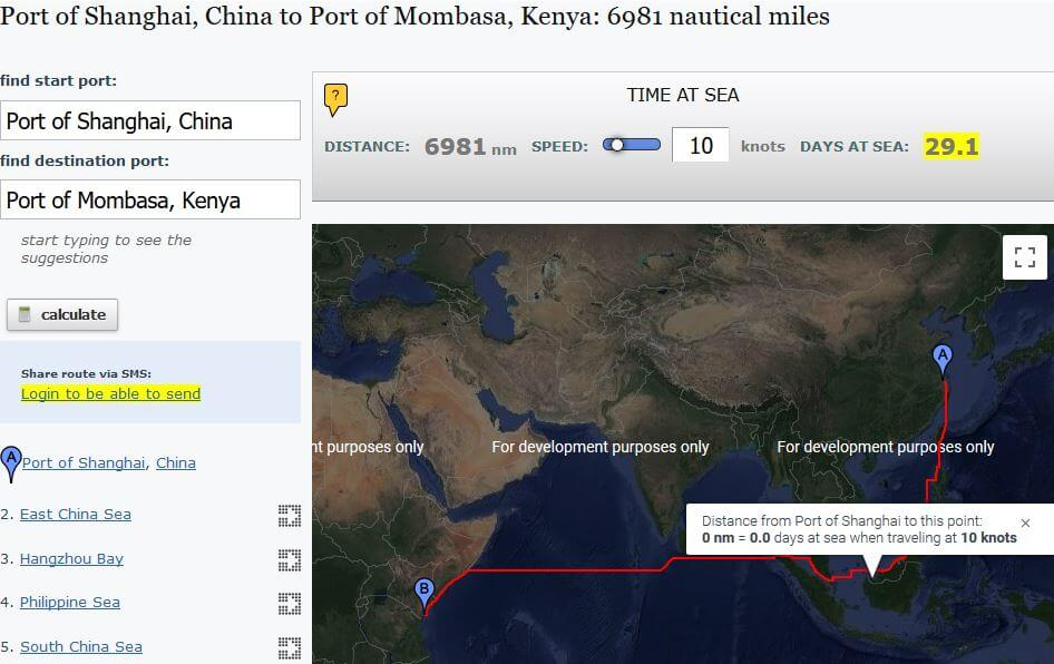 Sea Route From China To Kenya