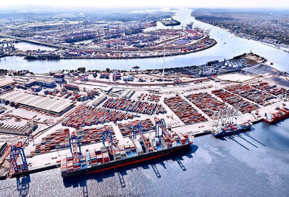 Port of Hamburg is the famous port of Germany