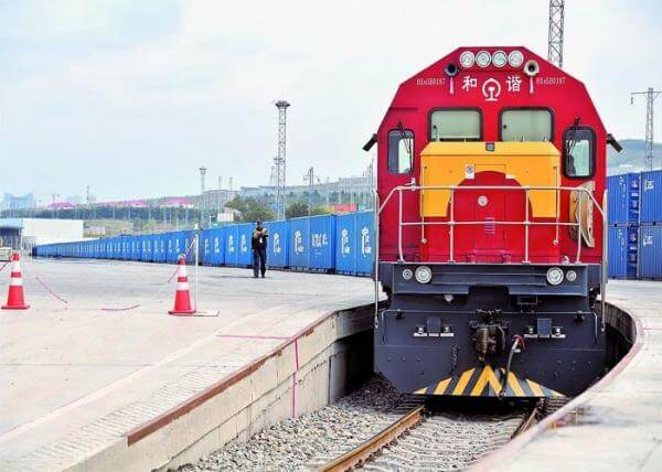 Freight Trains With Goods In China