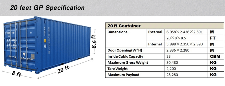 20 foot GP Container Specifications