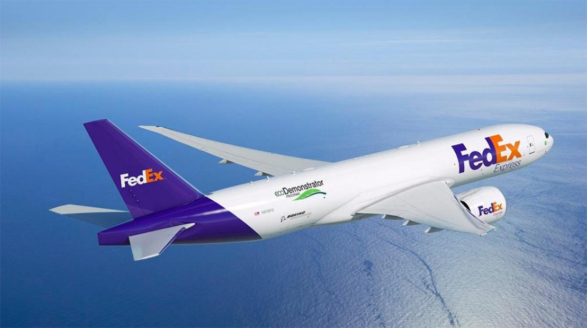 A FedEx Boeing Cargo Plane Flying the Skies