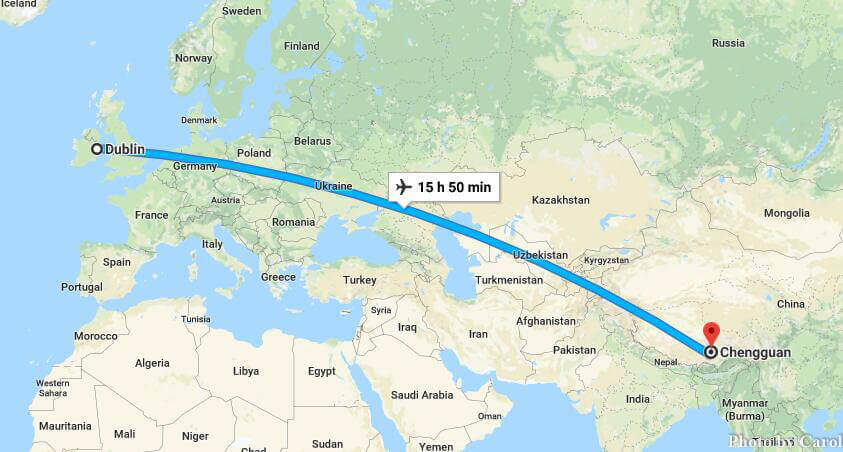 Distance From China to Ireland