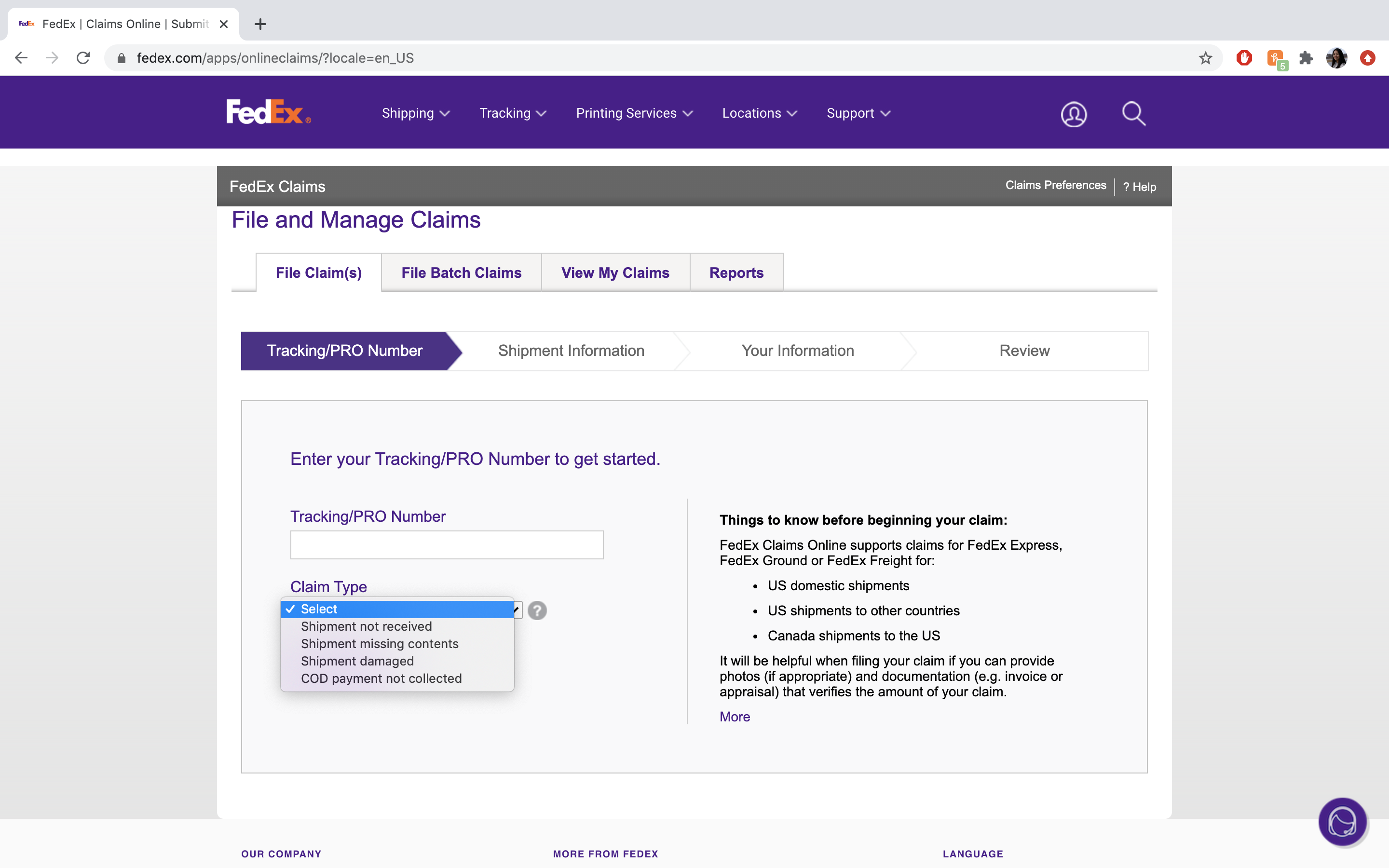 A Parcel Tracking Picture on the FedEx Website