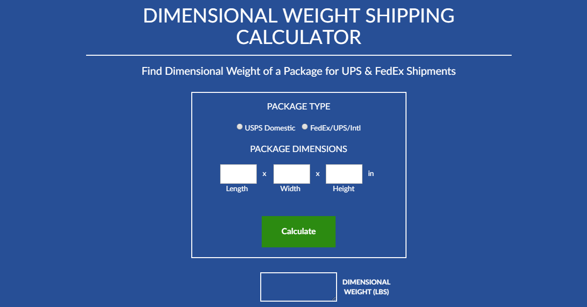 Weight calculation for the shipment