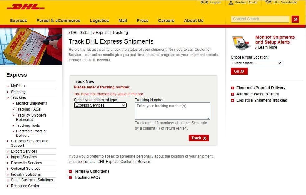 DHL Express Shipping Tracking