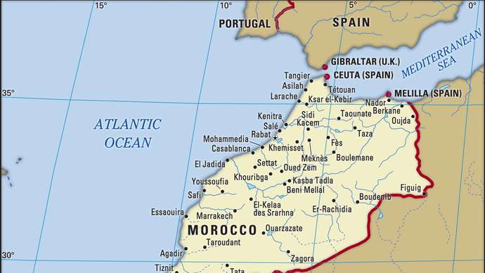Morocco is situated by the Atlantic Ocean.