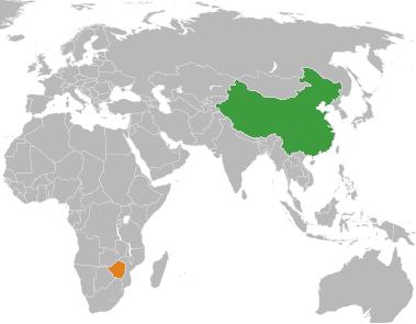 China and Zimbabwe's Location On A Map