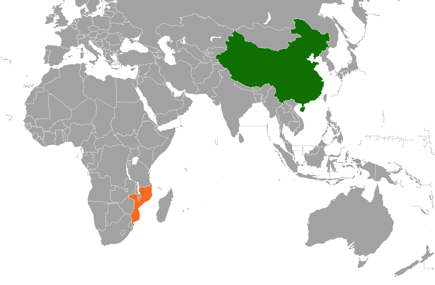 China and Mozambique on world map