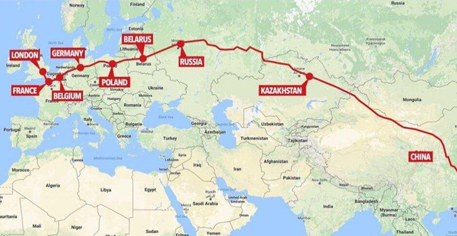China Europe Rail Freight Map